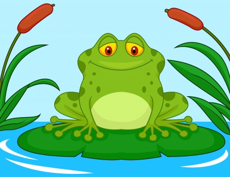 лягушка: Симпатичная зеленая лягушка мультфильм на лилии