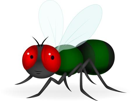 mosca caricatura: Mosca verde de dibujos animados