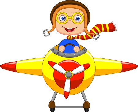 airplane cartoon: Little Boy cartoon Operating a Plane