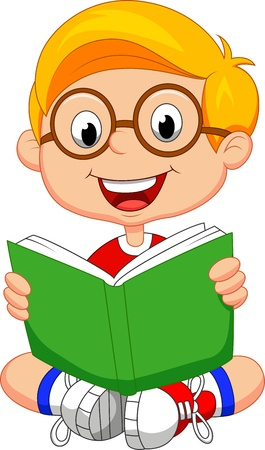 reads: Young boy cartoon reading book
