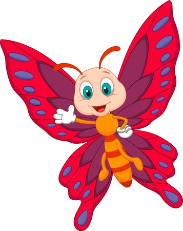 butterflies flying: Carino farfalla fumetto agitando Vettoriali