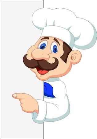 Chef cartoon with blank sign Çizim