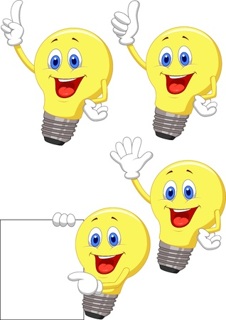 pointing up: Cartoon light bulb Illustration