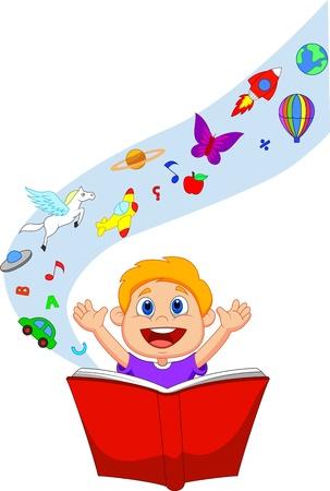 m�rchen: Boy Cartoon liest ein Fantasy-Buch Illustration