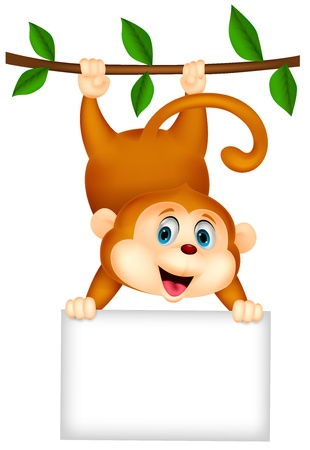 show plant: Cute monkey cartoon with blank sign