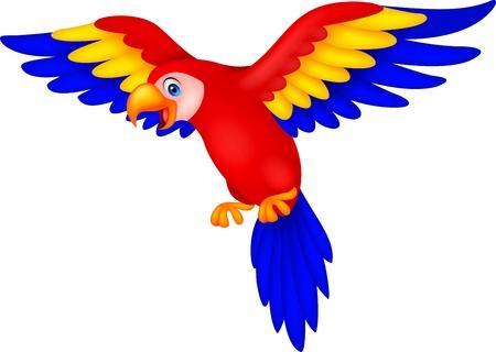 Historieta linda del loro del pájaro Ilustración de vector