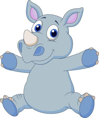 rhinoceros: Cute rhino cartoon