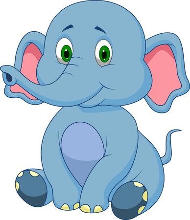 elephant nose: Cute baby elephant cartoon