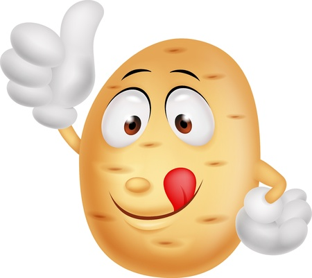 batata: Cute potato cartoon thumb up