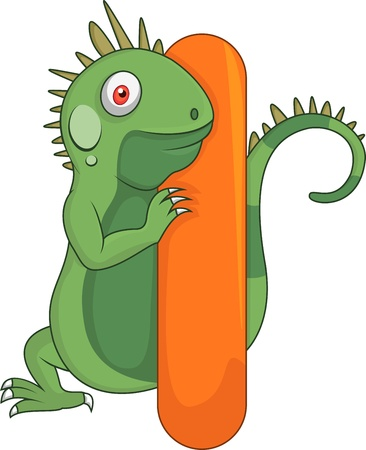 Alphabet I with iguana cartoon Vector