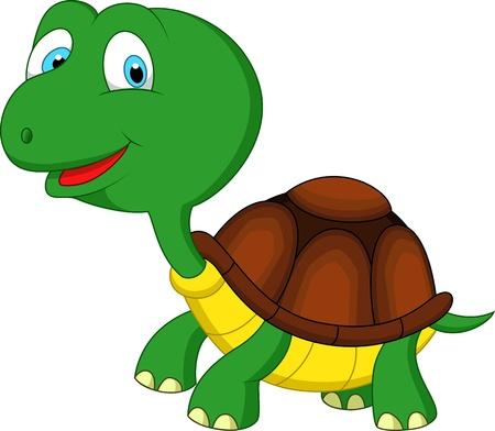 動物: 可愛的綠海龜卡通 向量圖像