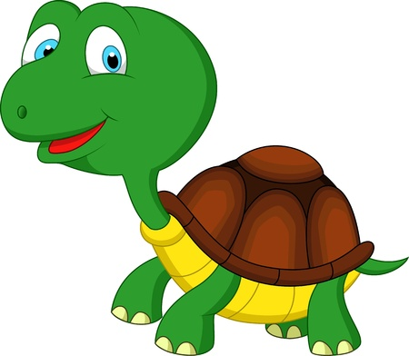Cute green turtle cartoon Vector