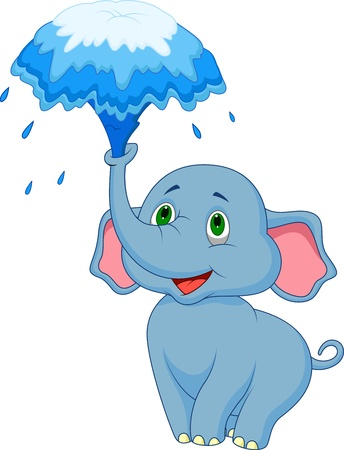 elephant trunk: Cute elephant cartoon blowing water out of his trunk