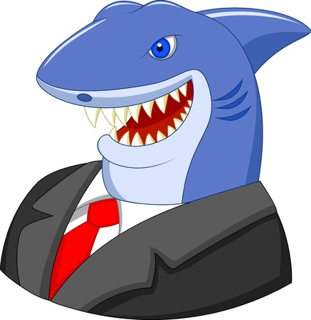 Business shark cartoon Çizim