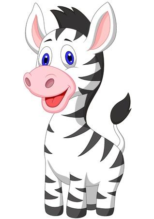 roztomilý: Cute baby zebra karikatura Ilustrace