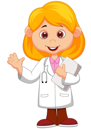 Cute little female doctor cartoon waving hand