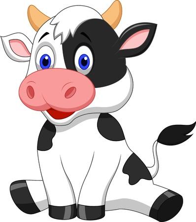 かわいい牛漫画座っています。  イラスト・ベクター素材