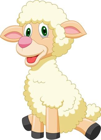 lindo: Dibujos animados lindo de las ovejas Vectores