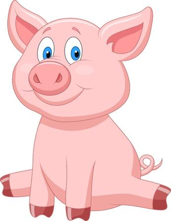 cochinos: Cute dibujos animados de cerdo Vectores