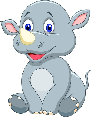 Cute baby rhino cartoon
