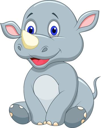 Rhino bande dessinée mignonne de bébé Vecteurs