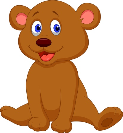 Cute baby bear cartoon Vector