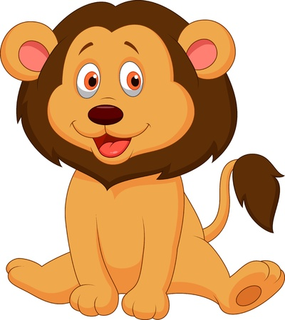 Cute baby lion cartoon Vector