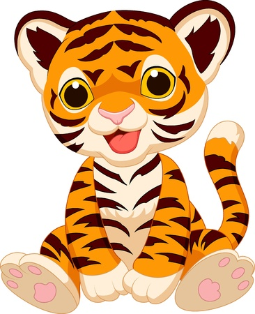 Cute tiger cartoon Ilustrace