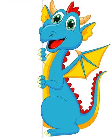 cute border: Cute drago cartone animato con segno bianco