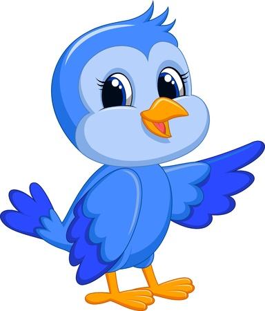 Leuke blauwe vogel cartoon Stock Illustratie