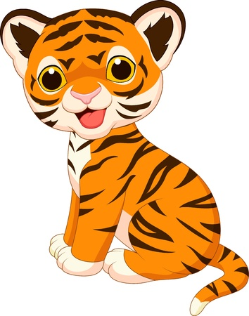 Tijger cute cartoon Stock Illustratie