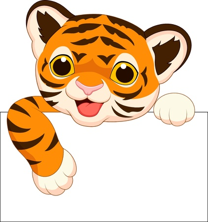 cubs: Cute tiger cartoon with blank sign