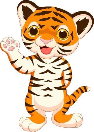 Cute baby tiger cartoon waving Stock Vector - 20219415