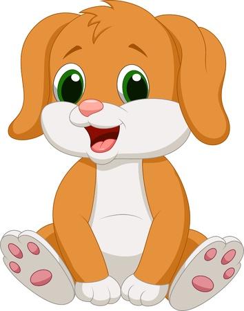 animal mouth: Cute baby dog cartoon