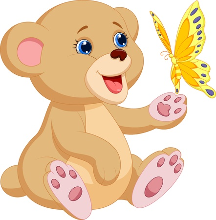 cute: Historieta linda del oso bebé que juega con la mariposa