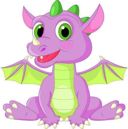 かわいい赤ちゃんドラゴン漫画  イラスト・ベクター素材