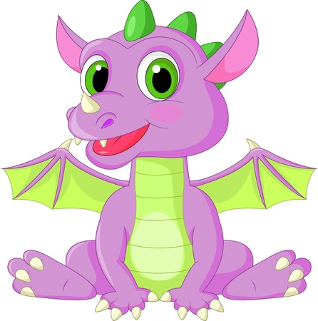 Cute baby dragon cartoon Vector