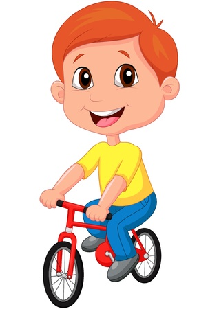 cartoon biker: Boy cartoon riding bicycle Illustration