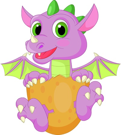 Baby dinosaur cartoon hatching Vector