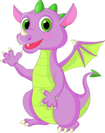 Cute baby dragon waving Vector