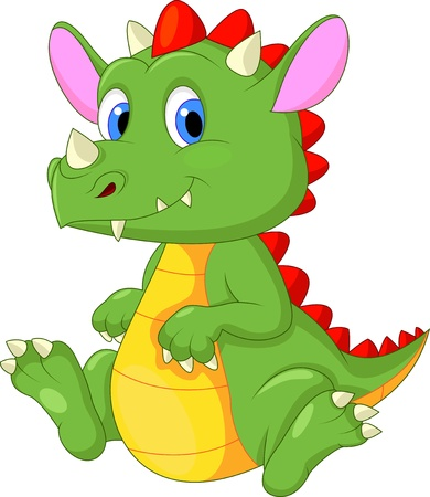dinosaur animal: Cute baby dragon cartoon Illustration