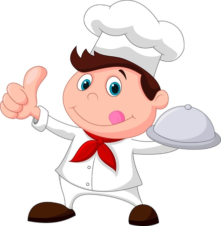 Chef cartoon holding a metal food platter and thumb up Vector