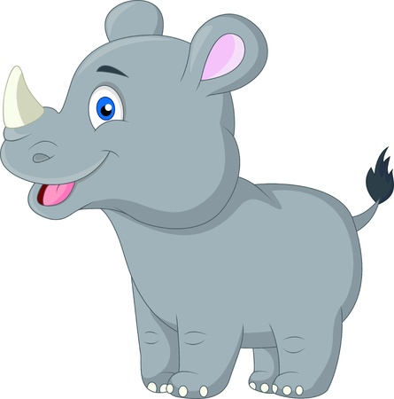 Cute baby rhino cartoon 版權商用圖片 - 20219427