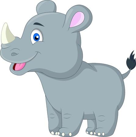 Historieta linda del rinoceronte del bebé Ilustración de vector