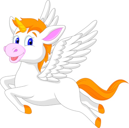 White unicorn horse cartoon Vector