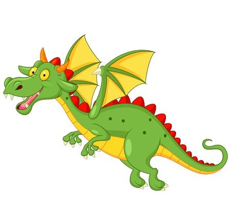 hadas caricatura: Vuelo lindo dragón