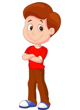 boys happy: Cute boy cartoon standing  Illustration