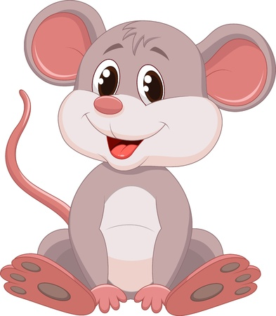 mus: Gullig mus tecknad