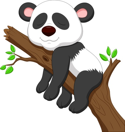 Sleeping panda cartoon Vector