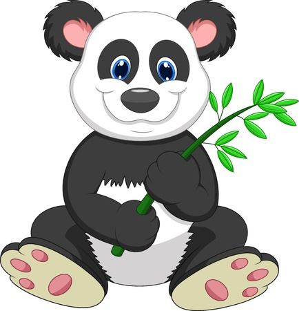 Giant Panda cartoon eating bamboo  Illustration
